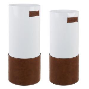 Set 2 suporturi umbrele din metal alb si piele ecologica maro Urban Ø 20 cm x 48 h; Ø 22 cm x 52 h
