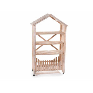 Raft 4 polite din lemn natur 79 cm x 40 cm x 136 h