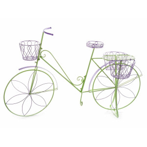 Suport flori cu 4 suporturi ghiveci metal verde mov model bicicleta cm 135 cm x 41 cm x 86 H