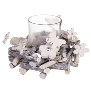Suport lumanare lemn sticla Margarete Ø 12 cm x 8 h