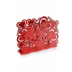 Suport pentru servetele metal rosu Love cm 15 cm x 4 cm x 10 cm