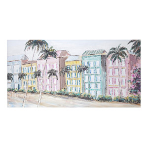 Tablou pe panza pictat in ulei Village 140 cm x 2.8 cm x 70 h