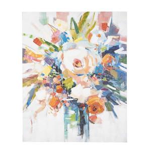 Tablou din lemn pictat in ulei Flowers 80 cm x 2.8 cm x 100 h