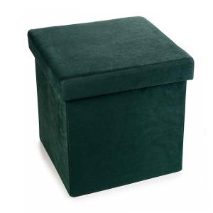 Taburet cu spatiu depozitare catifea verde 38 cm x 38 cm x 38h
