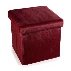 Taburet pliabil cu spatiu depozitare din textil pufos 38 cm x 38 cm x 38 h