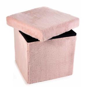 Taburet pliabil cu spatiu depozitare din textil pufos roz 38 cm x 38 cm x 38h
