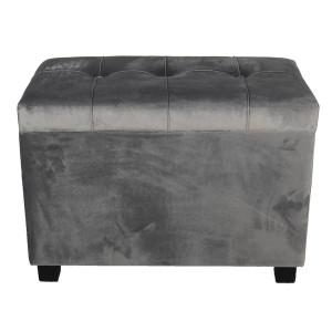 Bancuta cu spatiu depozitare picioare lemn negru si tapiterie velur gri 60 cm x 36 cm x 43 h