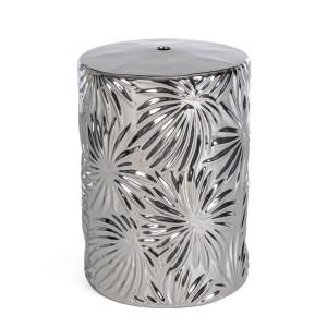 Taburet din ceramica argintie Sfinge Leaf Ø 33 cm x 46 h
