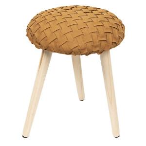 Taburet din lemn natur cu tapiterie textil portocaliu Ø 35 cm x 42 h