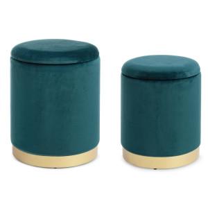 Set 2 tabureti catifea verde baza metal auriu cu spatiu depozitare Polina Ø 31.5 cm x 38 h; Ø 36 cm x 45 h