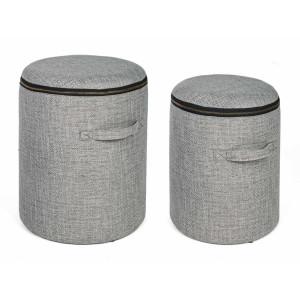 Set 2 tabureti tapiterie stofa gri negru cu spatiu depozitare Radmila Ø 30.5 cm x 38 h; Ø 35 cm x 44 h
