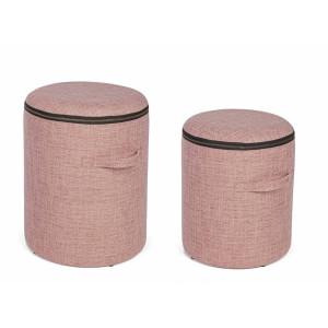Set 2 tabureti tapiterie stofa roz negru cu spatiu depozitare Radmila Ø 30.5 cm x 38 h; Ø 35 cm x 44 h