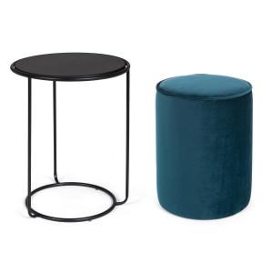 Masuta cafea si taburet albastru Annika Ø 32 cm x 42 h; Ø 40 m x 50 h