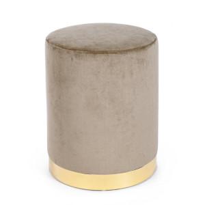 Taburet catifea bej cu baza metal aurie Lucilla Ø 35 cm x 40 h