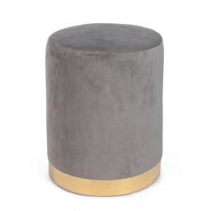 Taburet catifea gri cu baza metal aurie Lucilla Ø 35 cm x 40 h