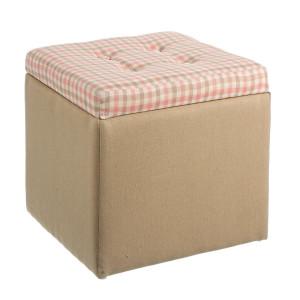 Taburet cu spatiu depozitare tapiterie textil Judy 32 cm x 32 cm x 30 h