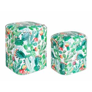 Set 2 tabureti tapiterie piele ecologica Forestis 33 cm x 28 cm x 36 h; 37 cm x 34 cm x 43 h