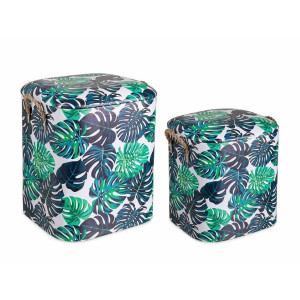 Set 2 tabureti tapiterie piele ecologica Forestis 33 cm x 28.5 cm x 36 h; 37.5 cm x 34.5 cm x 43.5 h