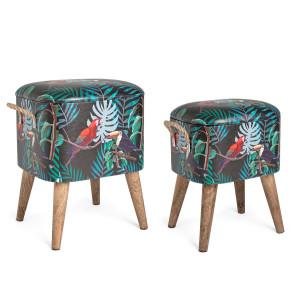 Set 2 tabureti tapiterie piele ecologica cu picioare lemn Forestis 34 cm x 28.5 cm x 42 h, 37.5 cm x 34.5 cm x 47 h