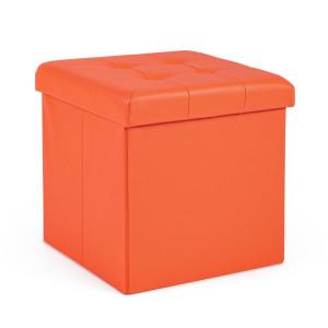Taburet cu spatiu depozitare piele ecologica portocalie Magda 38 cm x 38 cm x 38 h