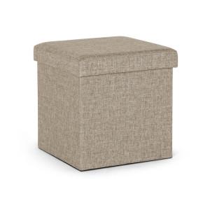 Taburet cu spatiu depozitare din stofa bej Cindy 38 cm x 38 cm x 38 h