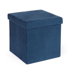 Taburet pliabil cu spatiu depozitare catifea albastru 38 cm x 38 cm x 38 cm
