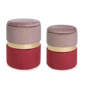 Set 2 tabureti catifea roz rosu baza metal auriu cu spatiu depozitare Polina Ø 31.5 cm x 38 h; Ø 36 cm x 44 h