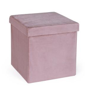 Taburet pliabil cu spatiu depozitare catifea roz prafuit 38 cm x 38 cm x 38h