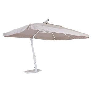 Umbrela de gradina cu picior din fier alb si copertina textil gri Rialto 300 cm x 400 cm x 320 h