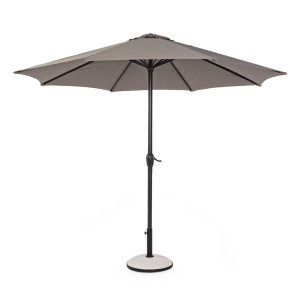 Umbrela de gradina cu picior din fier negru si copertina textil bej Kalife Ø 300 cm x 242 h