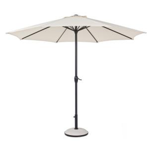 Umbrela de gradina cu picior din aluminiu negru si copertina textil crem Kalife Ø 300 cm x 242 h