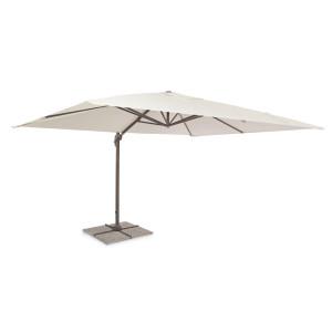 Umbrela de gradina cu picior din fier maro si copertina textil crem Dallas 300 cm x 400 cm x 255 h