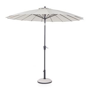 Umbrela de gradina cu picior din fier negru si copertina textil crem Atlanta Ø 270 cm x 240 h