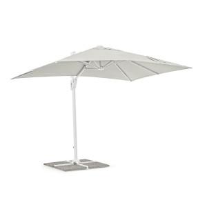 Umbrela de gradina cu picior din fier alb si copertina textil crem Eden 200 cm x 300 cm x 245 h