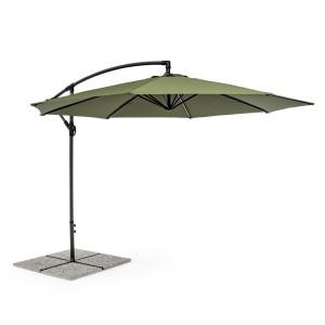 Umbrela de gradina cu picior din fier gri antracit si copertina textil verde Texas Ø 300 cm x 260 h