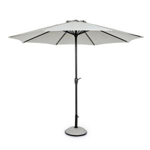 Umbrela de gradina cu picior din fier negru si copertina textil crem Kalife Ø 300 cm x 242 h