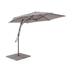 Umbrela de gradina cu picior din fier negru si copertina textil gri Sorrento Ø 300 cm x 253 h