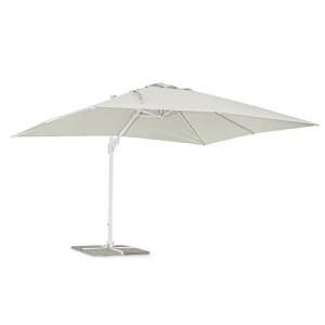 Umbrela de gradina cu picior din fier copertina textil alb Eden 300 cm x 400 cm x 260 h