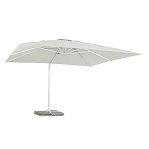 Umbrela de gradina cu picior din fier copertina textil alb Eden 400 cm x 400 cm x 270 h