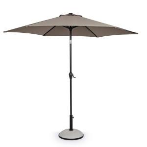 Umbrela de gradina cu picior din fier negru si copertina textil maro Kalife Ø 270 cm x 235 h