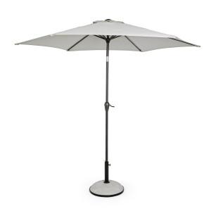Umbrela de gradina cu picior din fier negru si copertina textil alb Kalife Ø 270 cm x 235 h