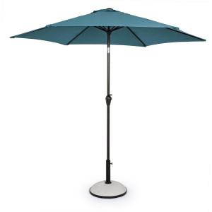 Umbrela de gradina cu picior din fier negru si copertina textil albastru Kalife Ø 270 cm x 235 h