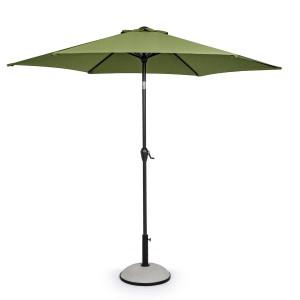 Umbrela de gradina cu picior din fier negru si copertina textil verde Kalife Ø 270 cm x 235 h