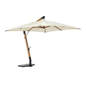 Umbrela de gradina cu picior din lemn natur si copertina textil crem Capua 300 cm x 400 cm x 320 h