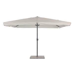 Umbrela de gradina cu picior din fier gri antracit si copertina textil gri Alghero 400 cm x 400 cm x 295 h