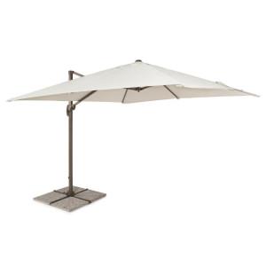 Umbrela de gradina cu picior din fier maro si copertina textil crem Dallas 300 cm x 300 cm x 255 h