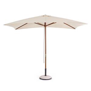Umbrela de gradina cu picior din lemn natur si copertina textil crem Syros 300 cm x 200 cm x 250 h