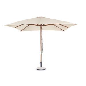 Umbrela de gradina cu picior din fier natur si copertina textil crem Syros 300 cm x 300 cm x 270 h