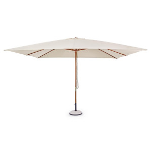Umbrela de gradina cu picior din lemn si copertina textil crem Syros 400 cm x 300 cm x 270 h