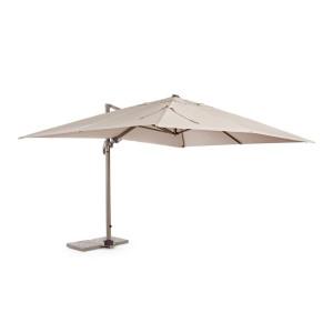 Umbrela de gradina cu picior din fier maro si copertina textil crem Saragozza 400 cm x 300 cm x 275 h